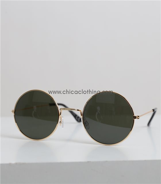 Στρόγγυλα γυαλιά ηλίου με χρυσό σκελετό (Πράσινο)