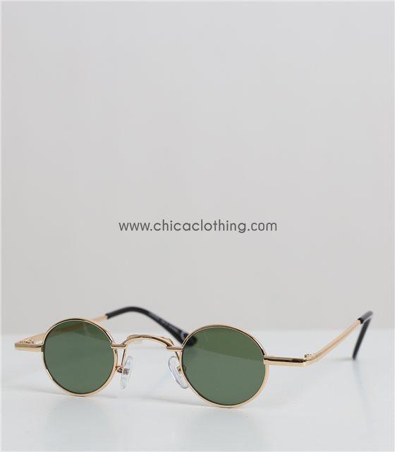 Στρόγγυλα μικρά γυαλιά ηλίου με μεταλλικό χρυσό σκελετό (Πράσινο)
