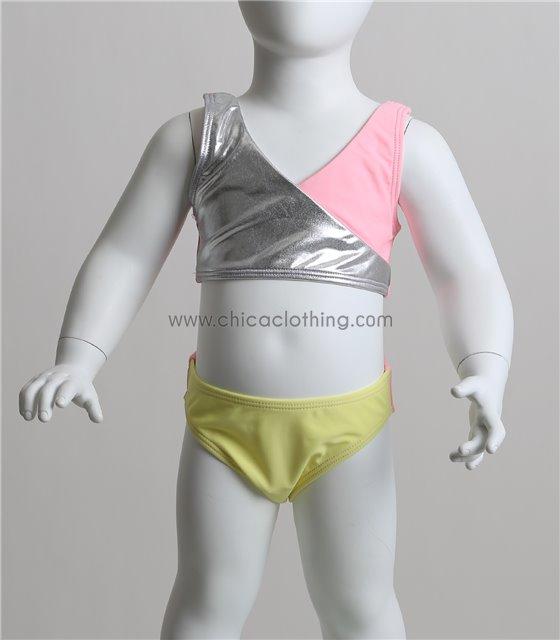 Παιδικό μπικίνι τρίχρωμο με ασημί λεπτομέρεια (Ροζ)