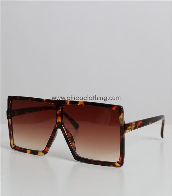 Γυαλιά ηλίου μάσκα μεγάλη με λεοπάρ σκελετό (Καφέ)