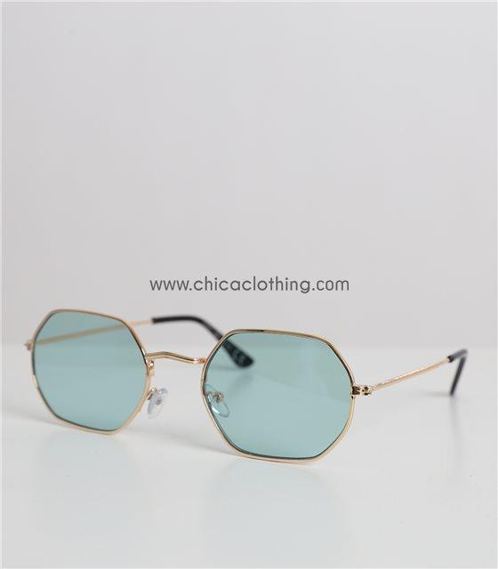 Γυαλιά ηλίου με πολύγωνο σκελετό και βεραμάν φακό