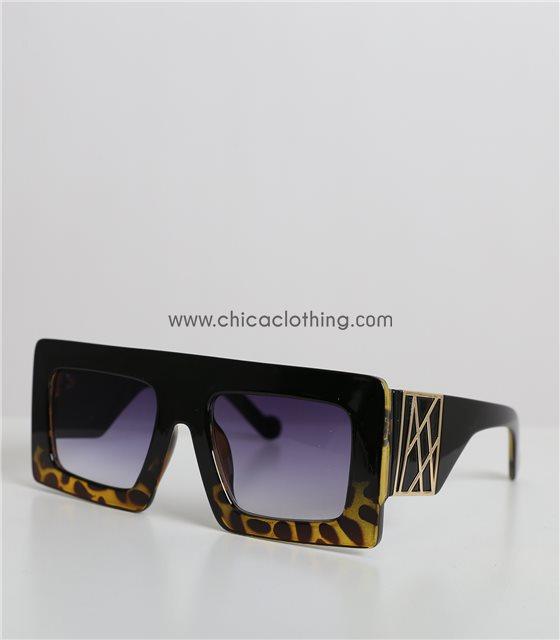 Κοκκάλινα γυαλιά μάσκα μαύρο/ταρταρούγα με φαρδύς βραχίονες (Μαύρο)