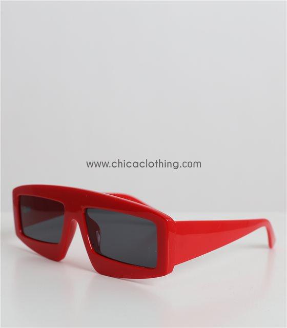 Γυαλιά ηλίου κόκκινα κοκκάλινα παραλληλόγραμμα με μαύρο φακό