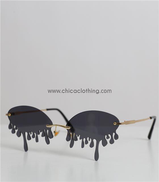 Γυαλιά ηλίου μαύρα οβάλ με δάκρυα