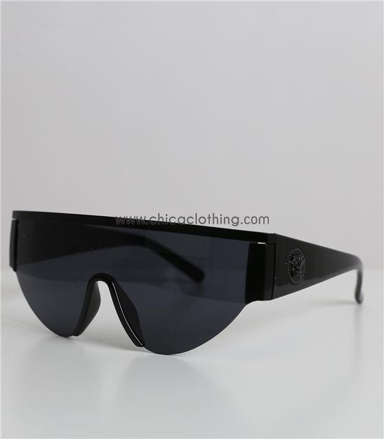 Γυαλιά ηλίου μάσκα μαύρη στρογγυλή με ανάγλυφο στον βραχίονα
