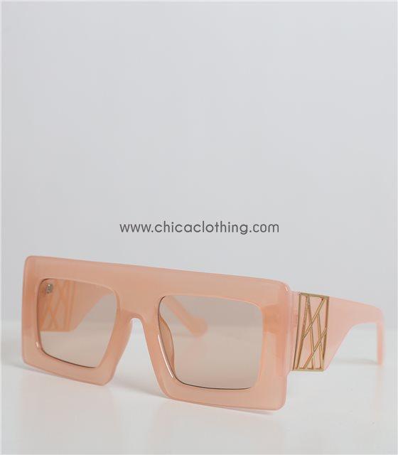Κοκκάλινα γυαλιά μάσκα ροζ με φαρδύς βραχίονες (Ροζ)