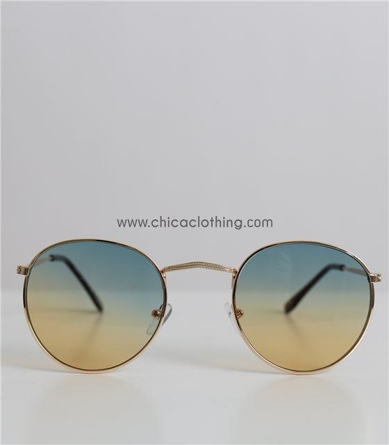 Γυαλιά ηλίου ντεγκραντέ με χρυσό σκελετό και πράσινο φακό