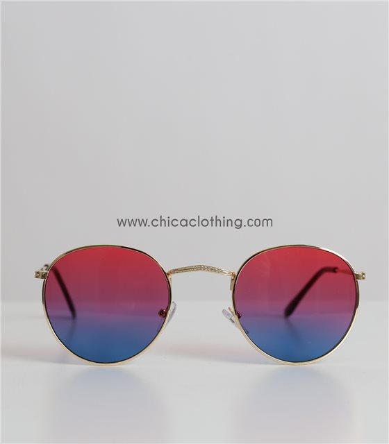 Γυαλιά ηλίου ντεγκραντέ με χρυσό σκελετό και κόκκινο φακό