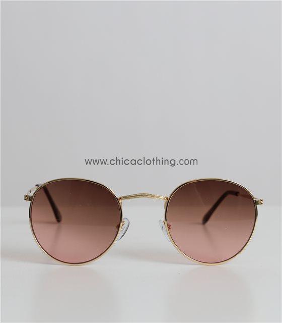 Γυαλιά ηλίου ντεγκραντέ με χρυσό σκελετό και καφέ φακό