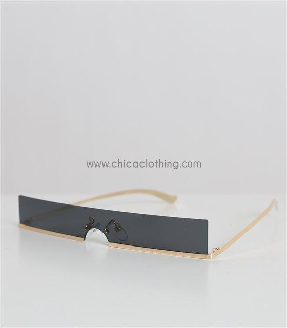 Γυαλιά ηλίου με μαύρο φακό και χρυσό σκελετό (Μαύρο)