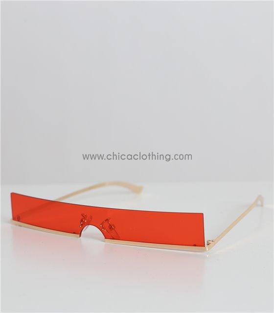 Γυαλιά ηλίου με κόκκινο φακό και χρυσό σκελετό (Κόκκινο)
