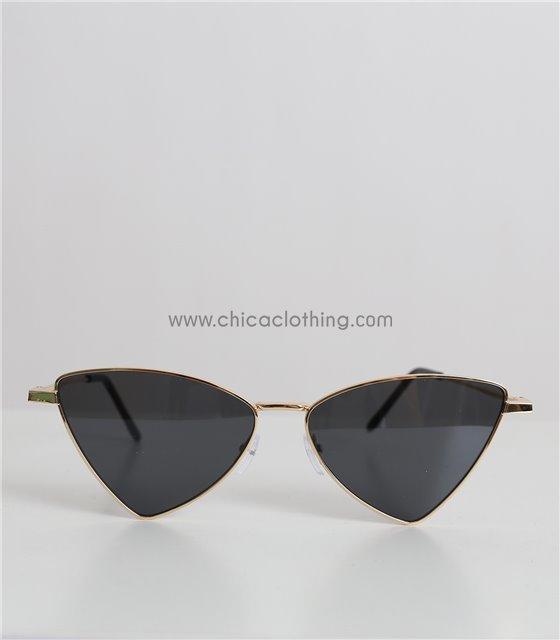 Γυαλιά ηλίου μεταλλικά με μαύρο φακό και χρυσό σκελετό (Μαύρο)