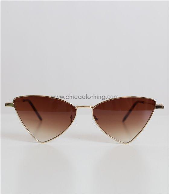 Γυαλιά ηλίου μεταλλικά με καφέ φακό και χρυσό σκελετό (Καφέ)