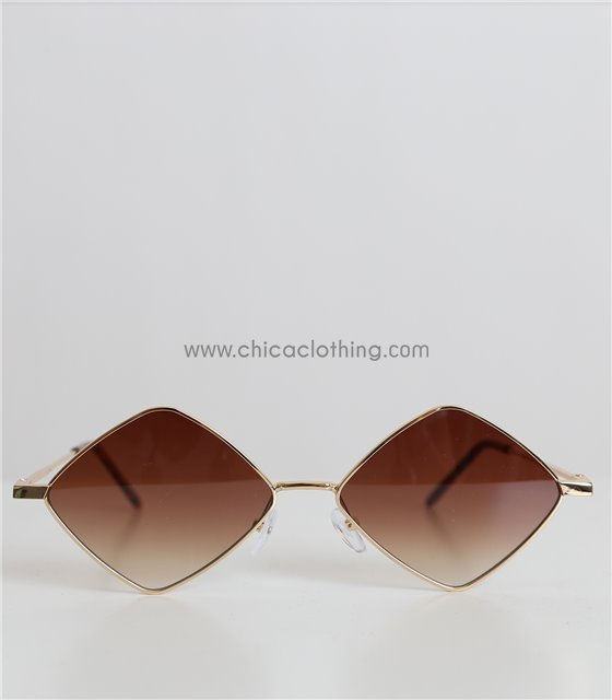 Γυαλιά ηλίου πολύγωνα με χρυσό σκελετό και καφέ φακό (Καφέ)