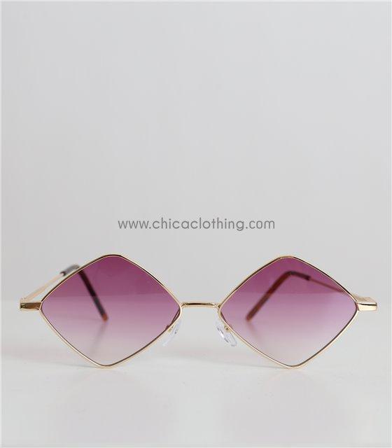 Γυαλιά ηλίου πολύγωνα με χρυσό σκελετό και μωβ φακό (Μωβ)