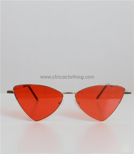 Γυαλιά ηλίου μεταλλικά με κόκκινο φακό και χρυσό σκελετό (Κόκκινο)