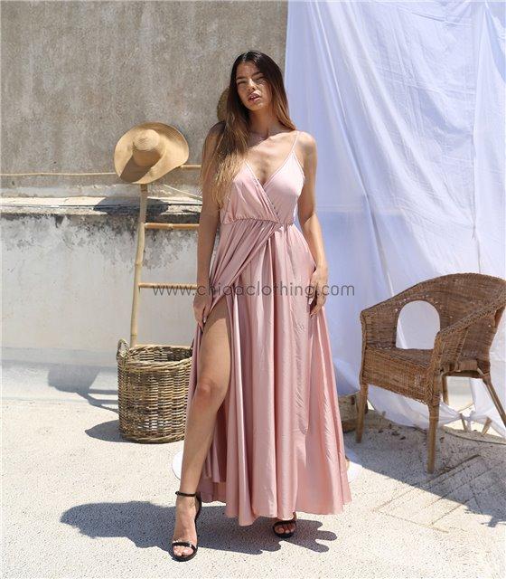 Φόρεμα σατέν κρουαζέ μάξι (Ροζ)