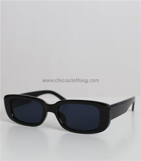 Ορθογώνια γυαλιά ηλίου με μαύρο φακό (Μαύρο)