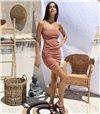 Μίνι φόρεμα στράπλες με κρυφό φερμουάρ (Μπεζ)
