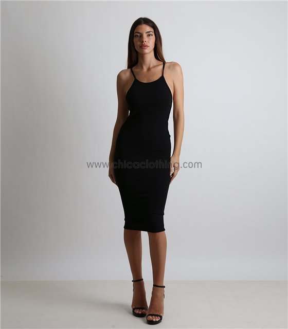Εφαρμοστό φόρεμα τιράντα με ανοίγματα στο πλάι (Μαύρο)