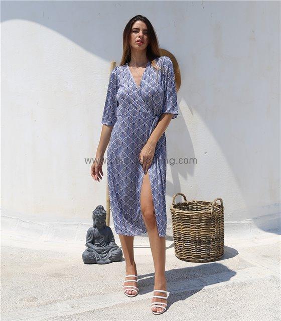 Midi φόρεμα δετό με 3/4 μανίκι και κοχύλια (Μπλε)