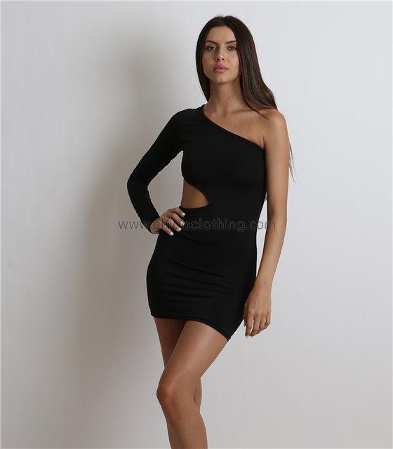 Μαύρο κοντό φόρεμα με ένα μανίκι