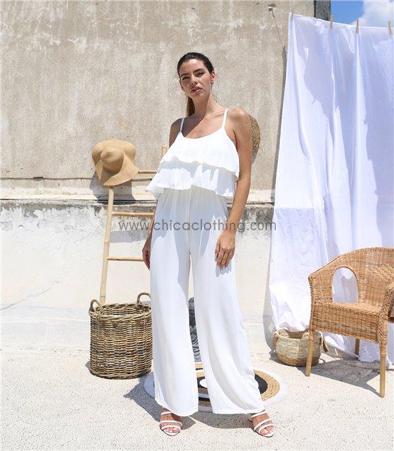 Ολόσωμη φόρμα με βολάν και τιράντες (Λευκό)