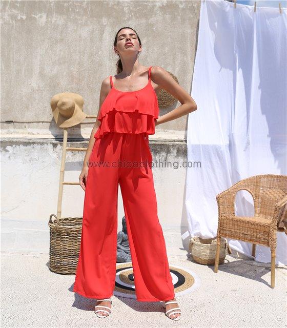 Ολόσωμη φόρμα με βολάν και τιράντες (Κόκκινο)