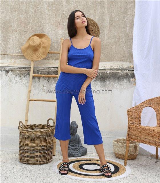 Ολόσωμη φόρμα ριπ τιράντα με σχέδιο στην πλάτη (Μπλε ρουά)