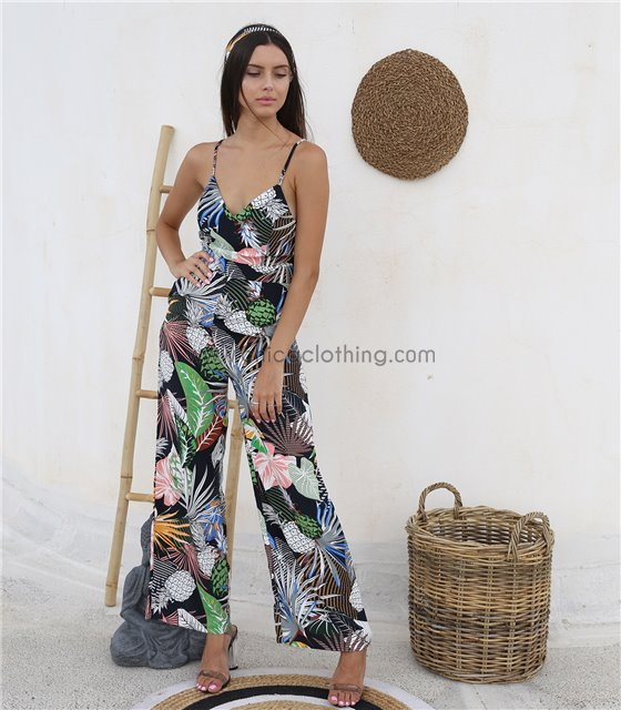 Ολόσωμη φόρμα φλοράλ με ζώνη και ρυθμιζόμενες τιράντες (Μαύρο)