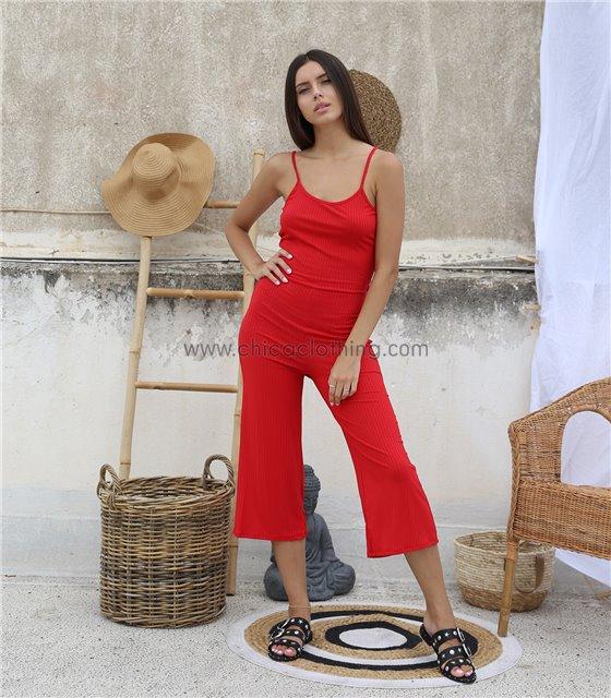 Ολόσωμη φόρμα ριπ τιράντα με σχέδιο στην πλάτη (Κόκκινο)
