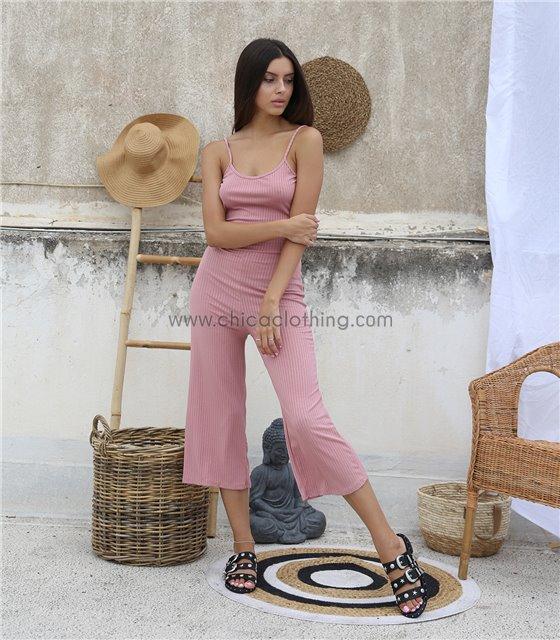 Ολόσωμη φόρμα ριπ τιράντα με σχέδιο στην πλάτη (Ροζ)