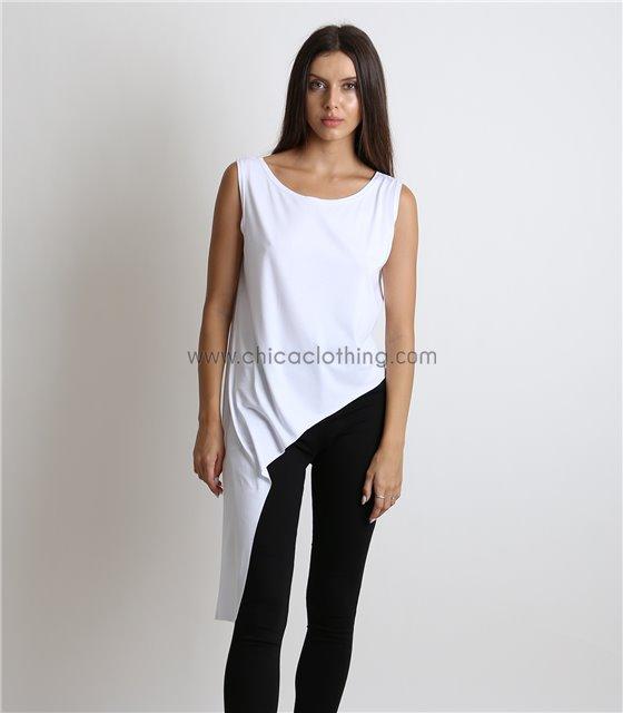 Ασύμμετρη μπλούζα (Λευκό)
