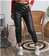 Ψηλόμεσο παντελόνι δερματίνη με τσέπες (Μαύρο)