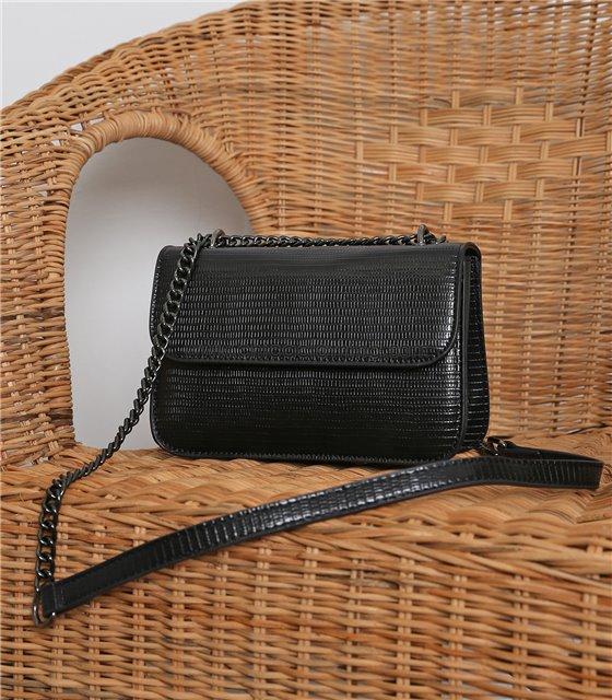 Τσάντα ώμου δερματίνη croco (Μαύρο)