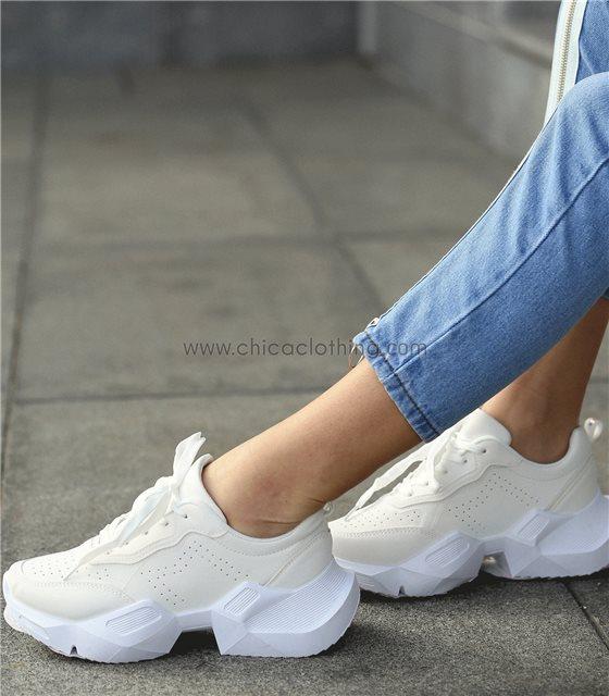 Sneakers δίπατο με χοντρό πάτο (Λευκό)