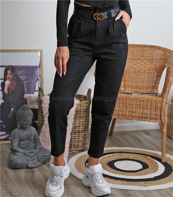 Παντελόνι ψηλόμεσο με ζώνη (Μαύρο)