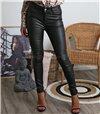 Παντελόνι δερματίνη ψηλόμεσο με τσέπες (Μαύρο)