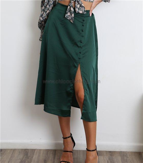 Midi φούστα σατέν με κουμπιά (Πράσινο)