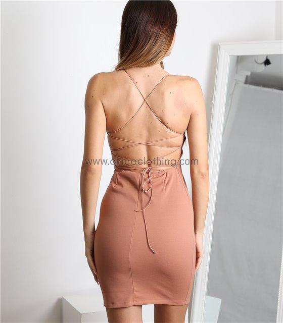 Μίνι φόρεμα εξώπλατο με δεσίματα στην πλάτη (Νουντ)