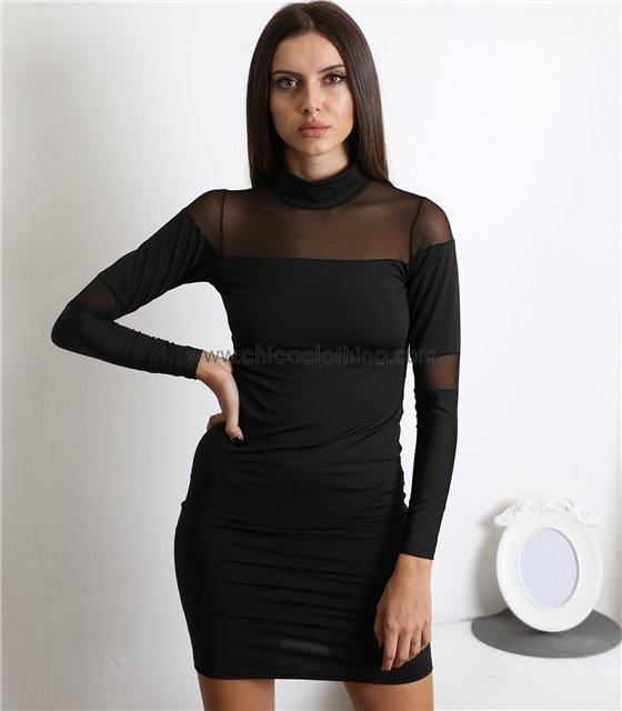 Φόρεμα εφαρμοστό με διαφάνεια (Μαύρο)