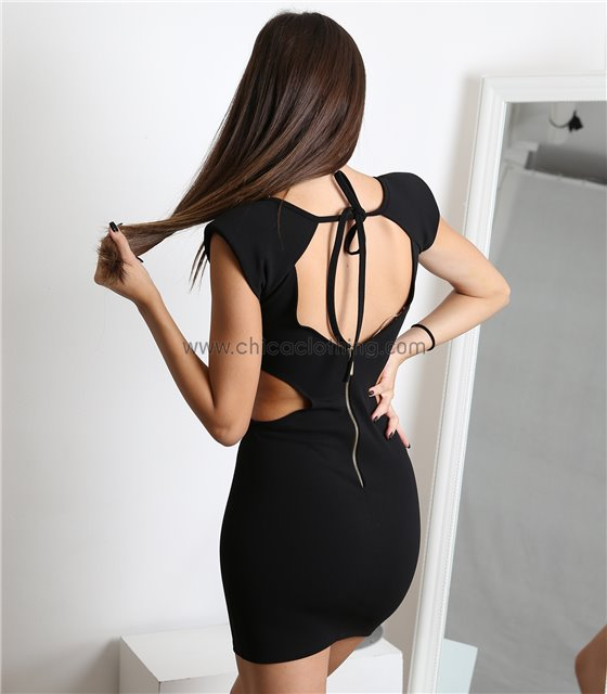Μαύρο φόρεμα ελαστικό εξώπλατο με ανοίγματα στο πλάι
