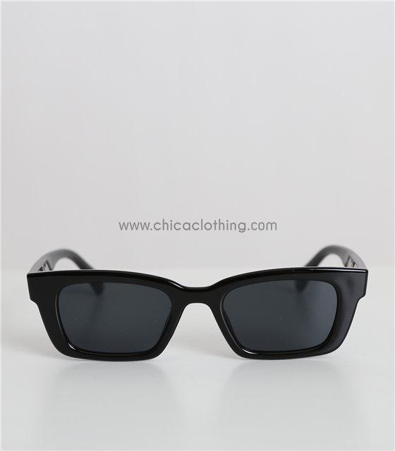 Γυαλιά ηλίου με μαύρο φακό και χρυσή λεπτομέρεια (Μαύρο)