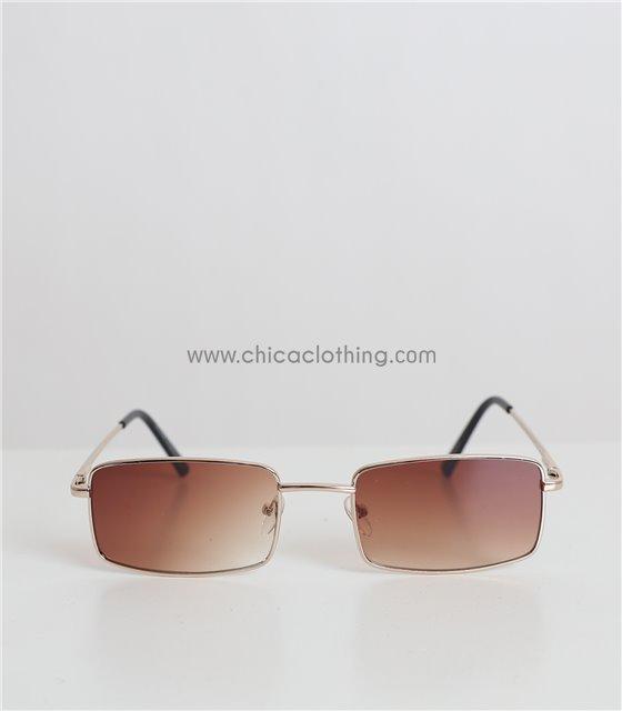 Τετράγωνα γυαλιά ηλίου με χρυσό σκελετό και καφέ φακό