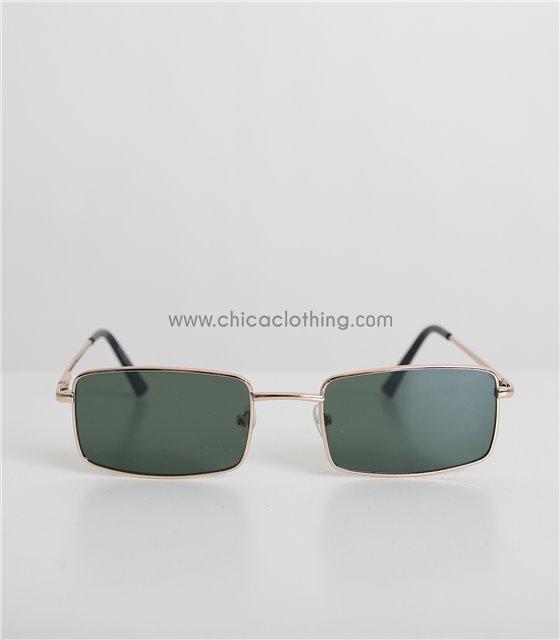 Τετράγωνα γυαλιά ηλίου με χρυσό σκελετό και πράσινο φακό