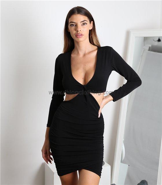Φόρεμα ελαστικό με κόμπο στο στήθος (Μαύρο)