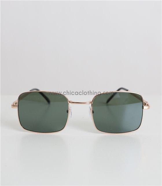 Τετράγωνα γυαλιά ηλίου με πράσινο φακό και χρυσό σκελετό