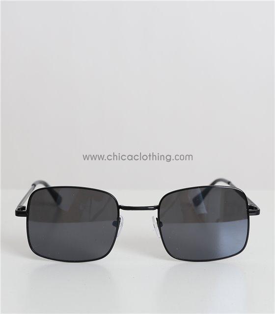 Τετράγωνα γυαλιά ηλίου με μαύρο φακό και χρυσό σκελετό