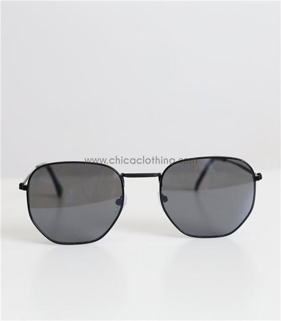 Πολύγωνα γυαλιά ηλίου με μαύρο φακό