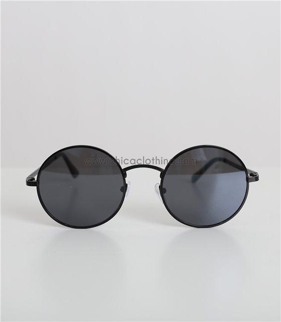 Στρόγγυλα γυαλιά ηλίου με μαύρο σκελετό και μαύρο φακό